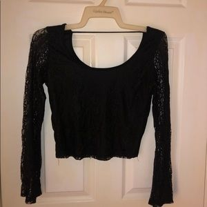 3/$35 Charlotte Russe Black Lace Long Sleeve Top